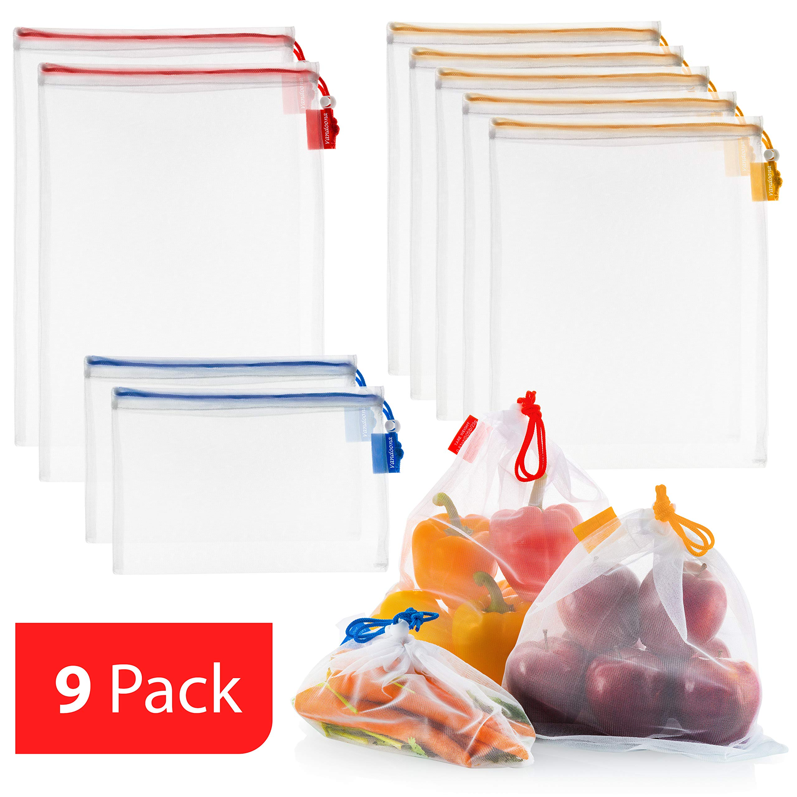 Vandoona Reusable Mesh Produce Bags, Eco Friendly Washable TRANSPARENT Strong Premium Mesh for Fruits & Veggies Grocery Shopping,