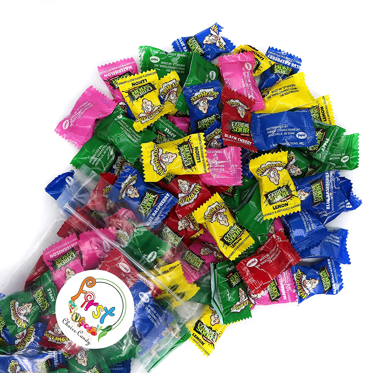 Warheads Extreme Sour Hard Candy Assorted Flavors (Regular Mix, 2 Pound)