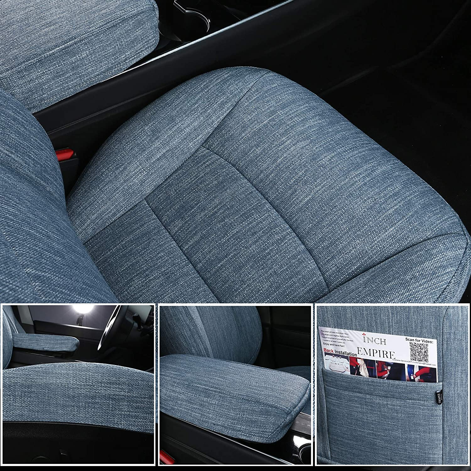 Beige INCH EMPIRE Car Seat Cover for Tesla Model 3 Fabric Cloth Breathable Sweat-Proof Seat Protector Custom Fit for Model 3 2017 2018 2019 2020