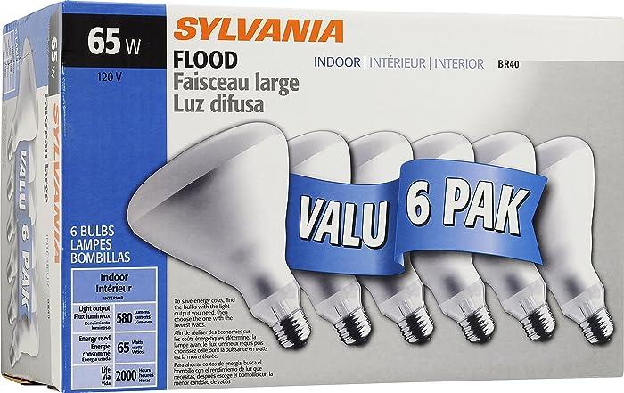 SYLVANIA Home Lighting 15391 Incandescent Bulb, BR40-65W, Soft White Finish, Medium Base, Pack of 6