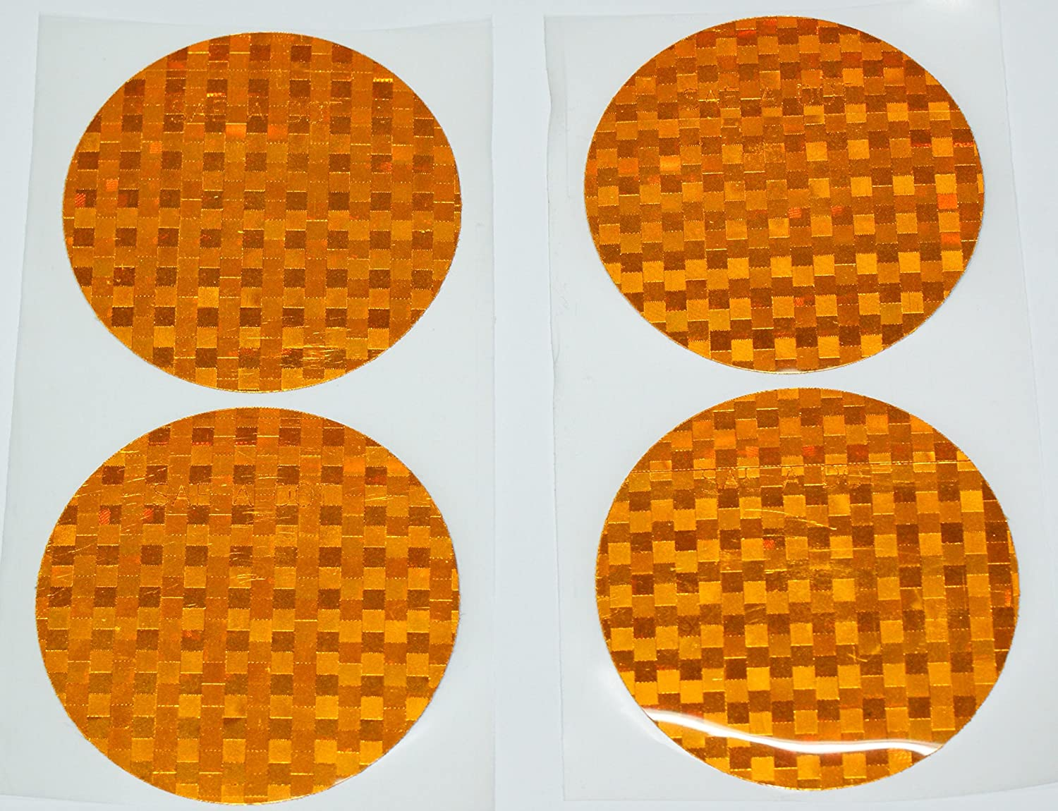 4 pack ifloortape DOT-SAE Amber Dot 3 Inch Round High Visibility Reflective Stick On Reflector Incom Manufacturing Group
