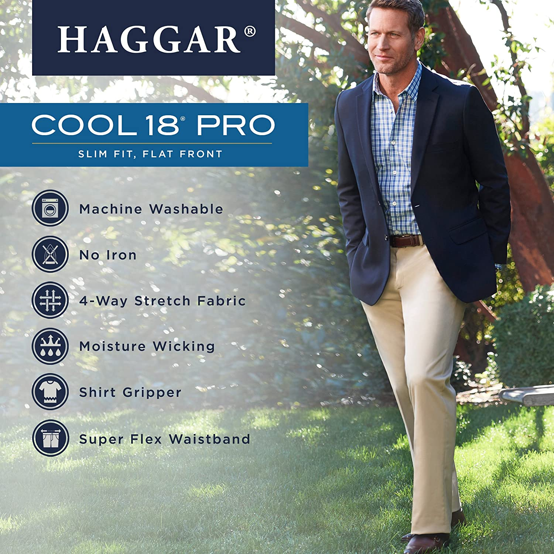 235e08db859 Haggar Men s Cool 18 Pro Slim Fit Flat Front Superflex Waistband Pant at  Amazon Men s Clothing store