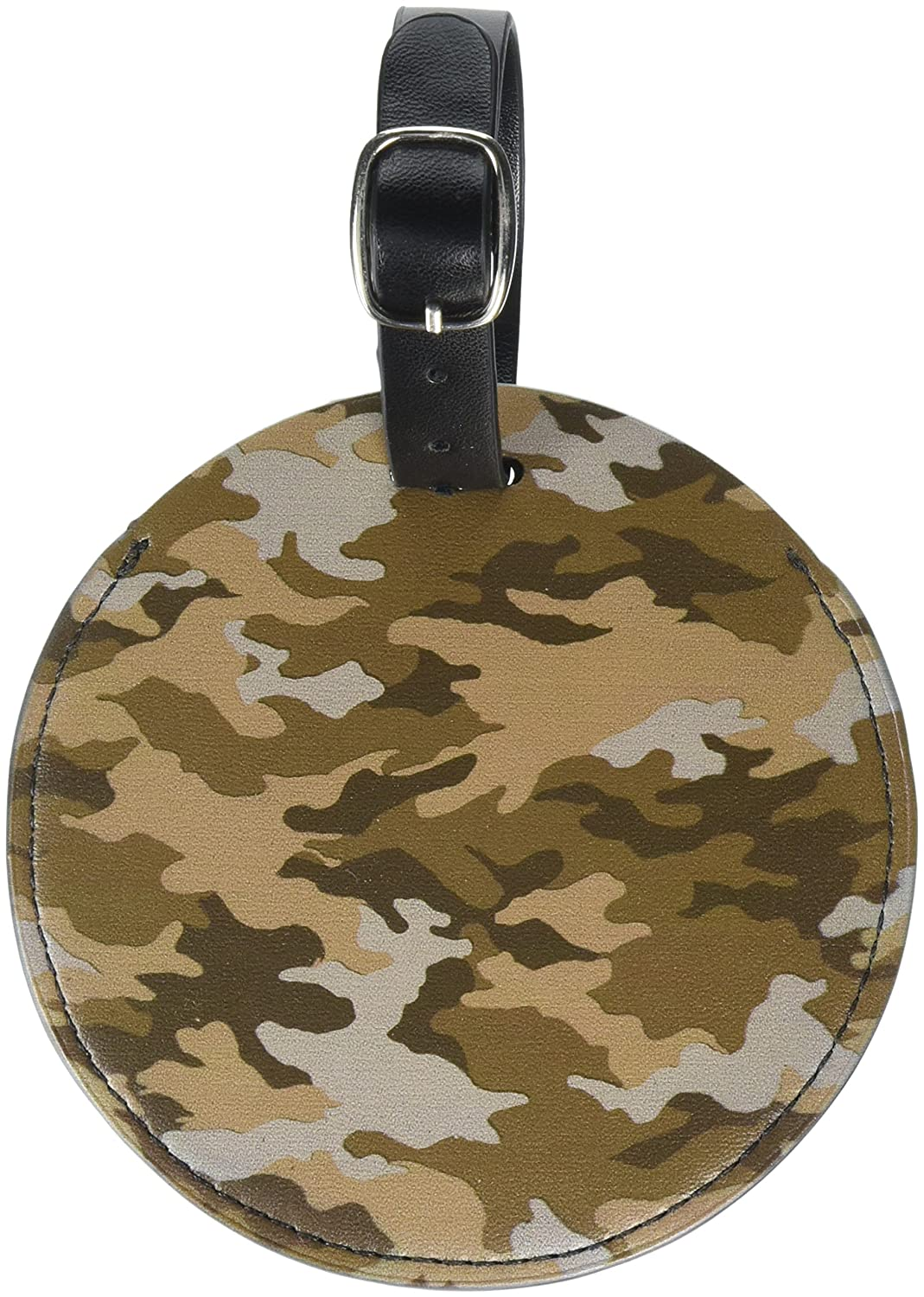 Graphics /& More Camouflage Print Brown Round Leather Luggage Id Tag Suitcase Carry-on Black