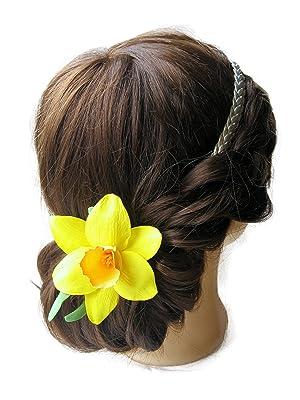 Daffodil flower hair clip.