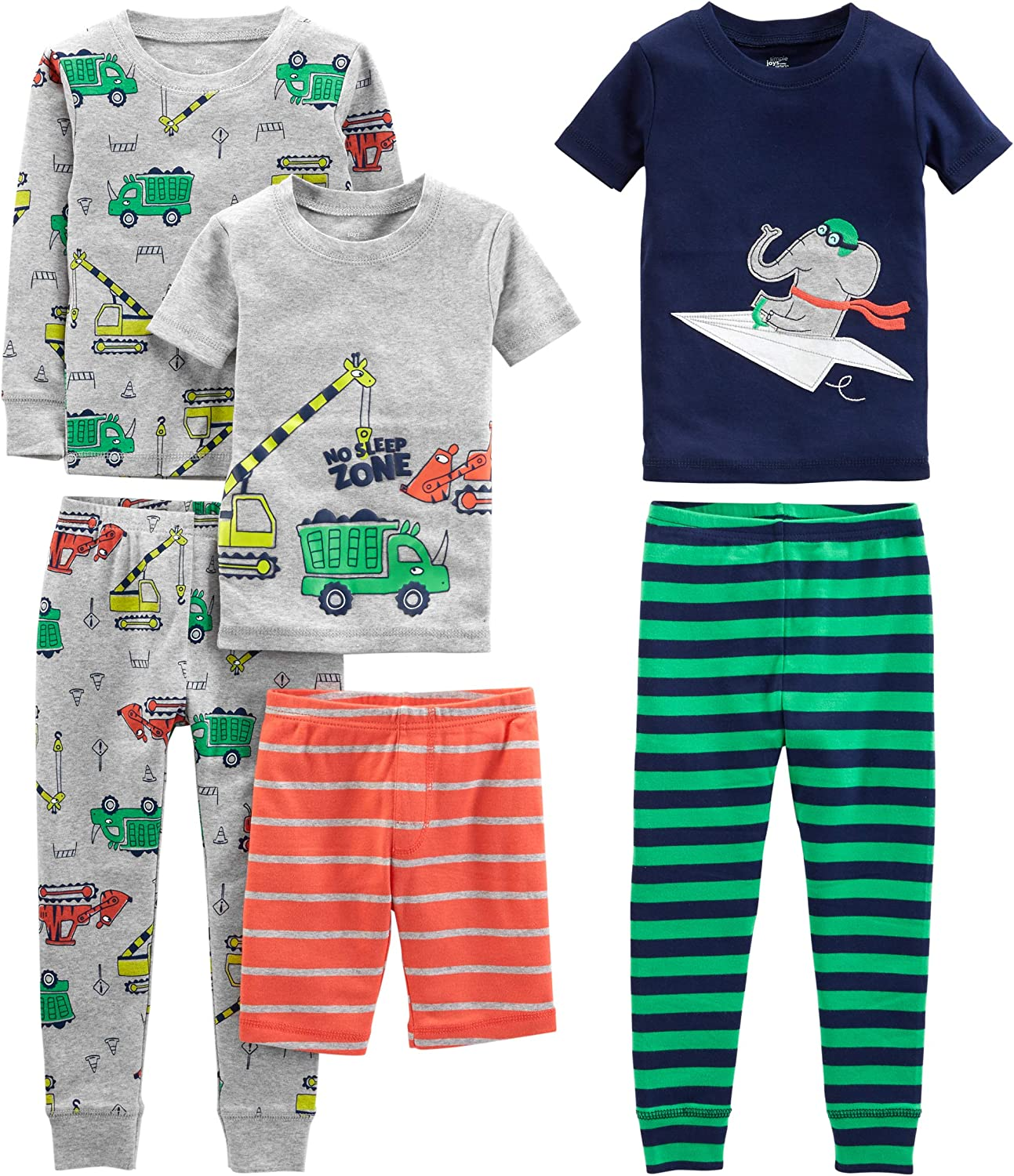 Little Kid Simple Joys by Carters Baby and Toddler Boys 6-Piece Snug Fit Cotton Pajama Set
