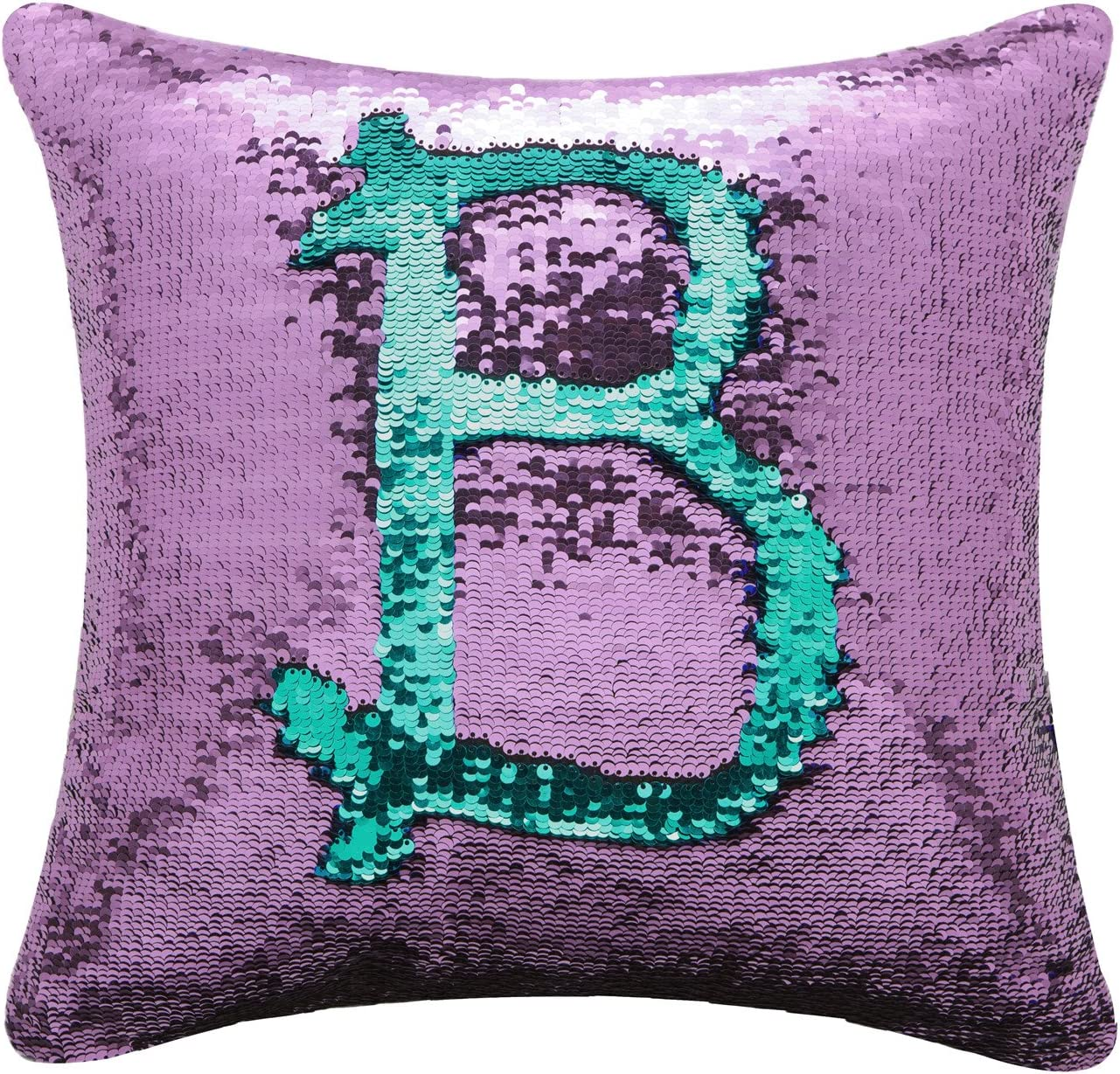 """BOOBEI Two Colors Reversible Sequins Mermaid Pillow Cases 1616"""" Purple and Blue"""
