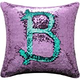 "BOOBEI Two Colors Reversible Sequins Mermaid Pillow Cases 1616"" Purple and Blue"