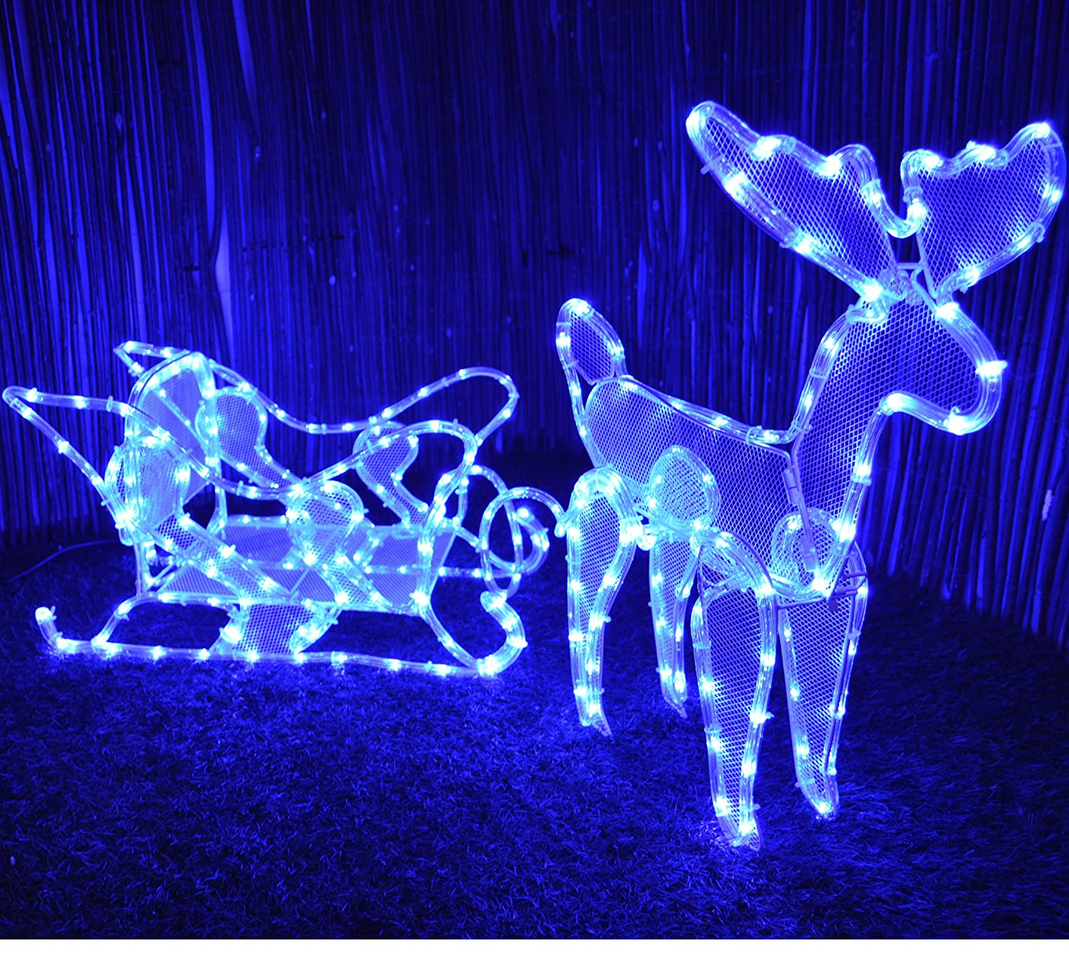 Kingfisher RL7 Free Standing Illuminated Reindeer and Sleigh Rope Light, Transparent Universal Markets Ltd