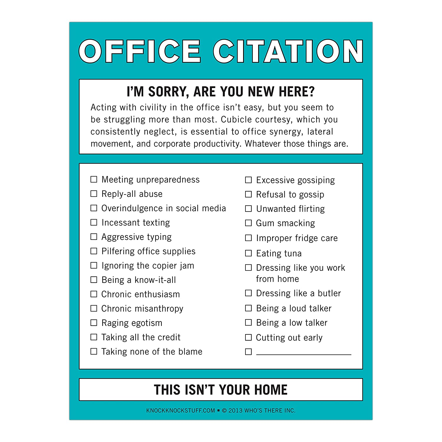It s easy to find the office supplies copy paper furniture ink - Amazon Com Knock Knock Office Citation Nifty Note Knock Knock Office Products