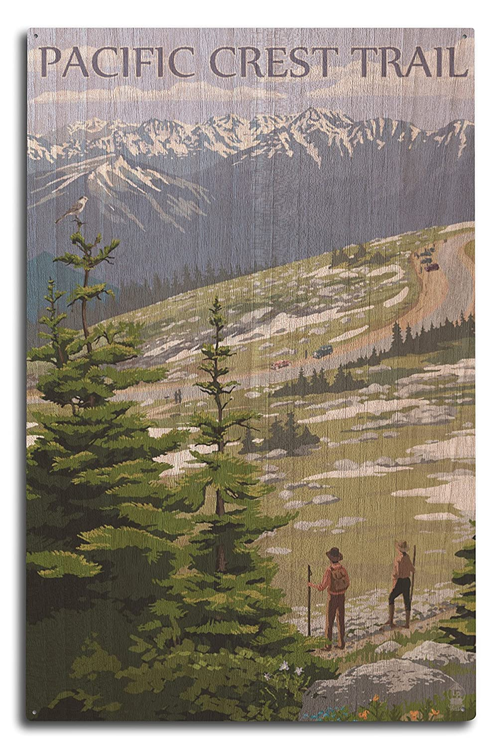 Pacific Crest Trail and Hikers (10x15 Wood Wall Sign, Wall Decor Ready to Hang)