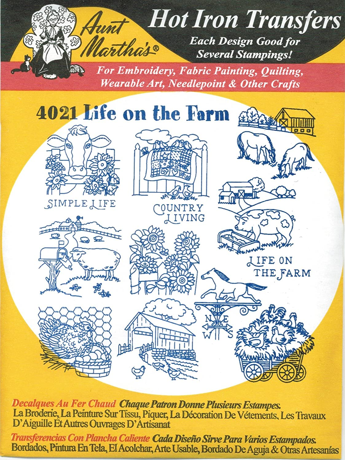 1 Aunt Martha/'s Farm Living  Iron on Embroidery Patterns Book
