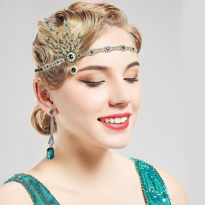 BABEYOND 1920s Accessoires Bandeau Flapper de Costume D/éguisements Bandeau Cristal Bandeau Gatsby Art des Ann/ées 1920 Bandeaux Inspir/é Feuille Couronne Perle