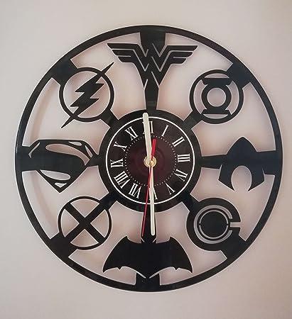 JUSTICE LEAGUE 12 Handmade Vinyl Record Wall Clock – Dark Knight Hero Arkham City DC Comics Movie Characters – Get unique home room wall decor – FLASH – Gift ideas for teens WONDER WOMAN AQUAMAN