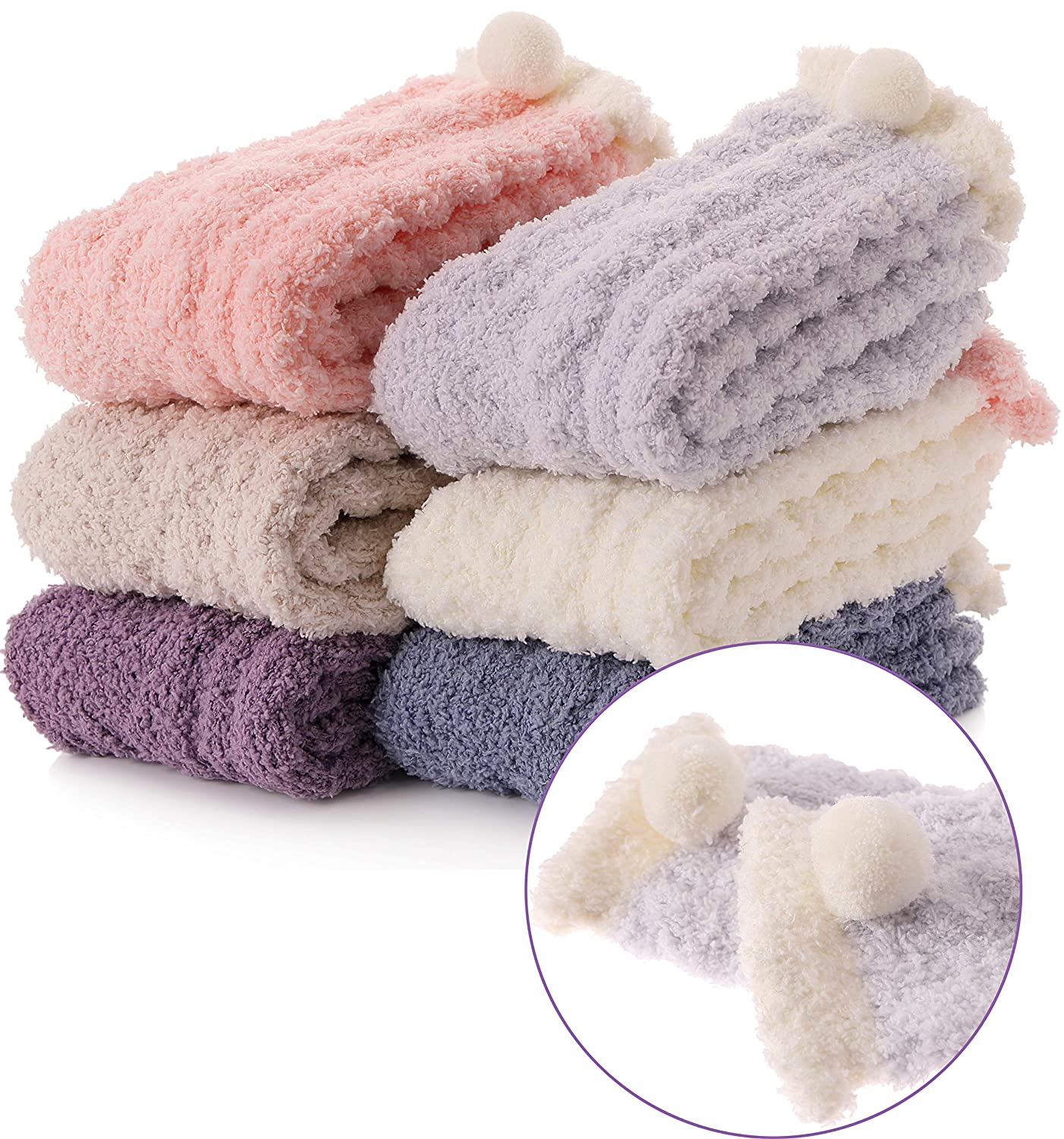 Womens Fuzzy Slipper Socks Soft Cabin Warm Cute Cozy Fluffy Winter Christmas Slipper Socks 6 Pairs