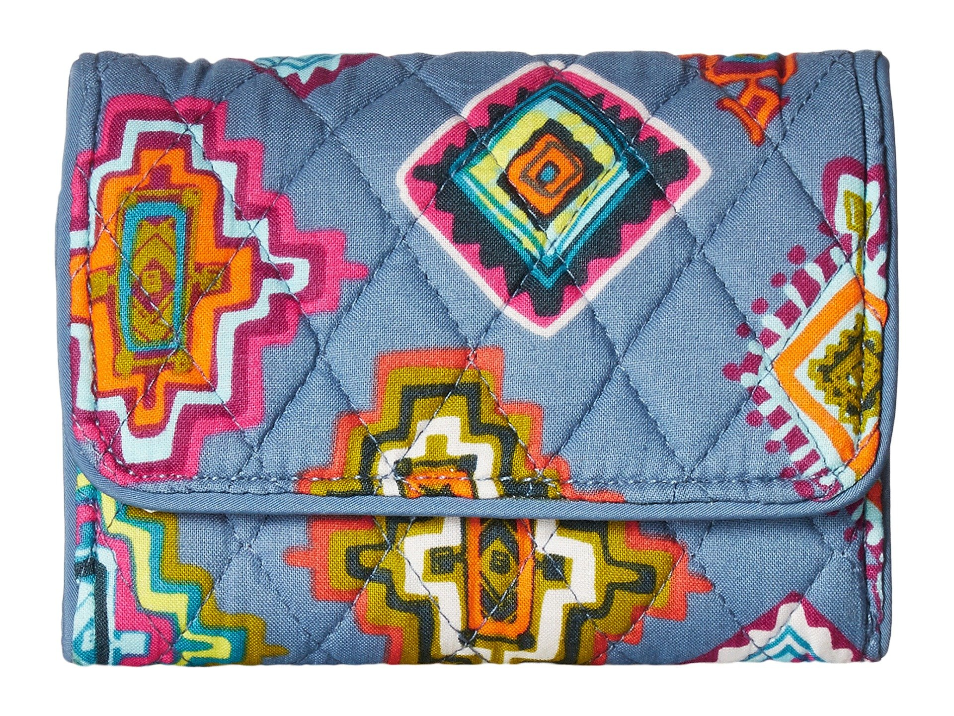Vera Bradley Women's Rfid Riley Compact Wallet Painted Medallions One Size
