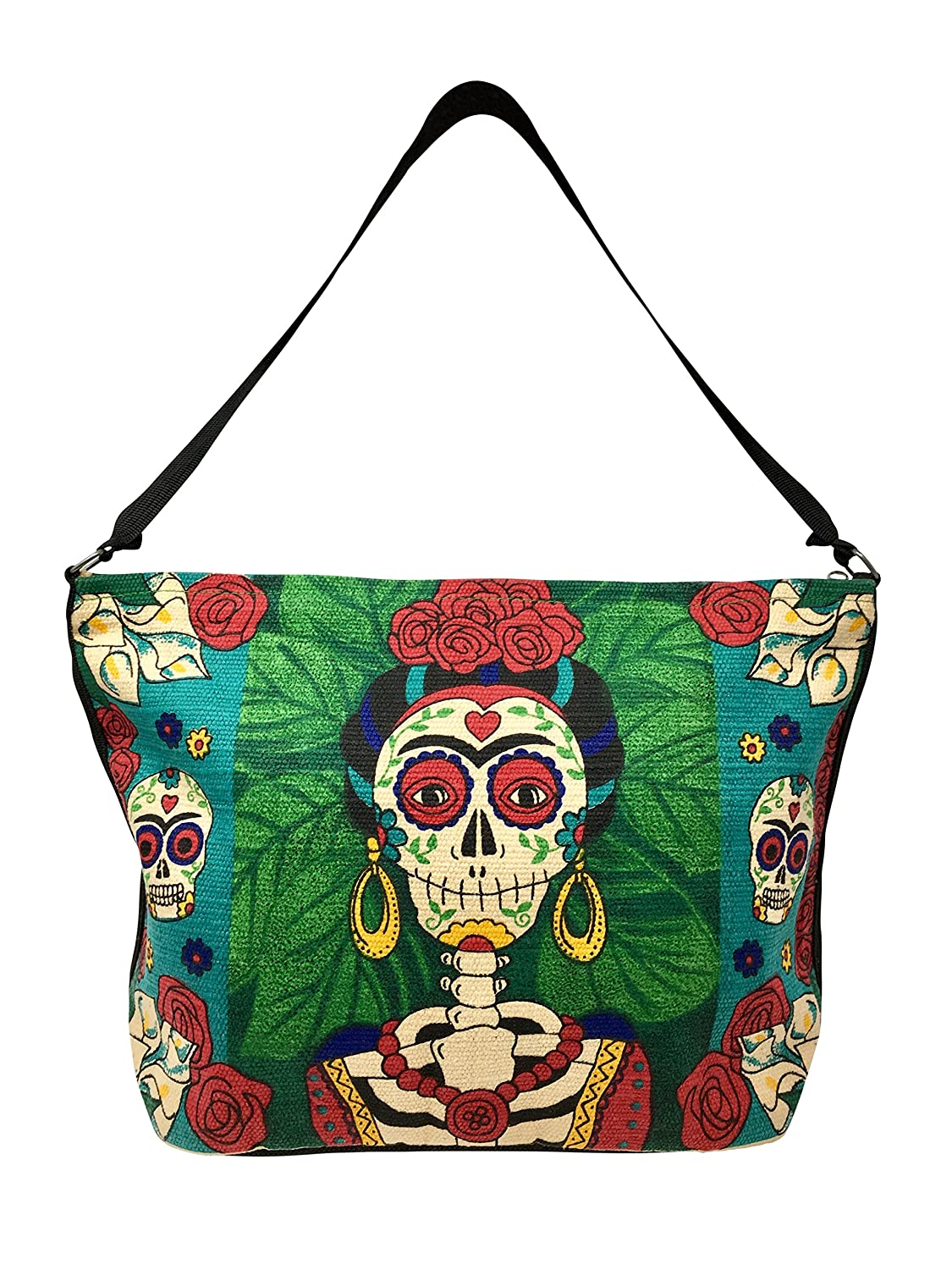 SpiritStar Sugar Skull Purse: Day of the Dead Inspired Daily Travel Bag Made with 100% Cotton