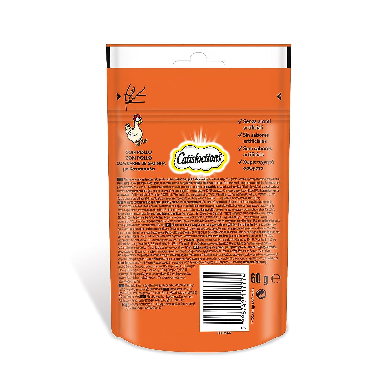 Premios para gatos sabor pollo 60g | [Pack de 6]: Amazon.es: Productos para mascotas