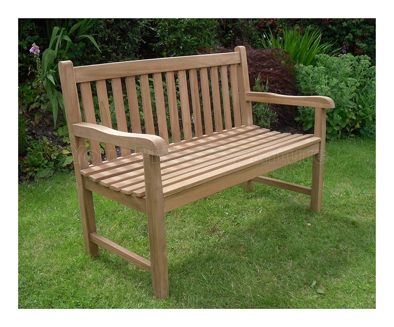 4ft 120cms 1.2m Chunky Teak 2 Seat Garden Park Bench Java Garden Furniture For Your Patio 1.2 metres Your Price Furniture