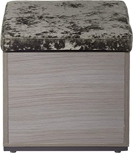 Christopher Knight Home Norris Storage Cube Organizer Ottoman-Faux Wood Frame-Upholstered Velvet Lid-Modern Glam-Charcoal and Dark Gray