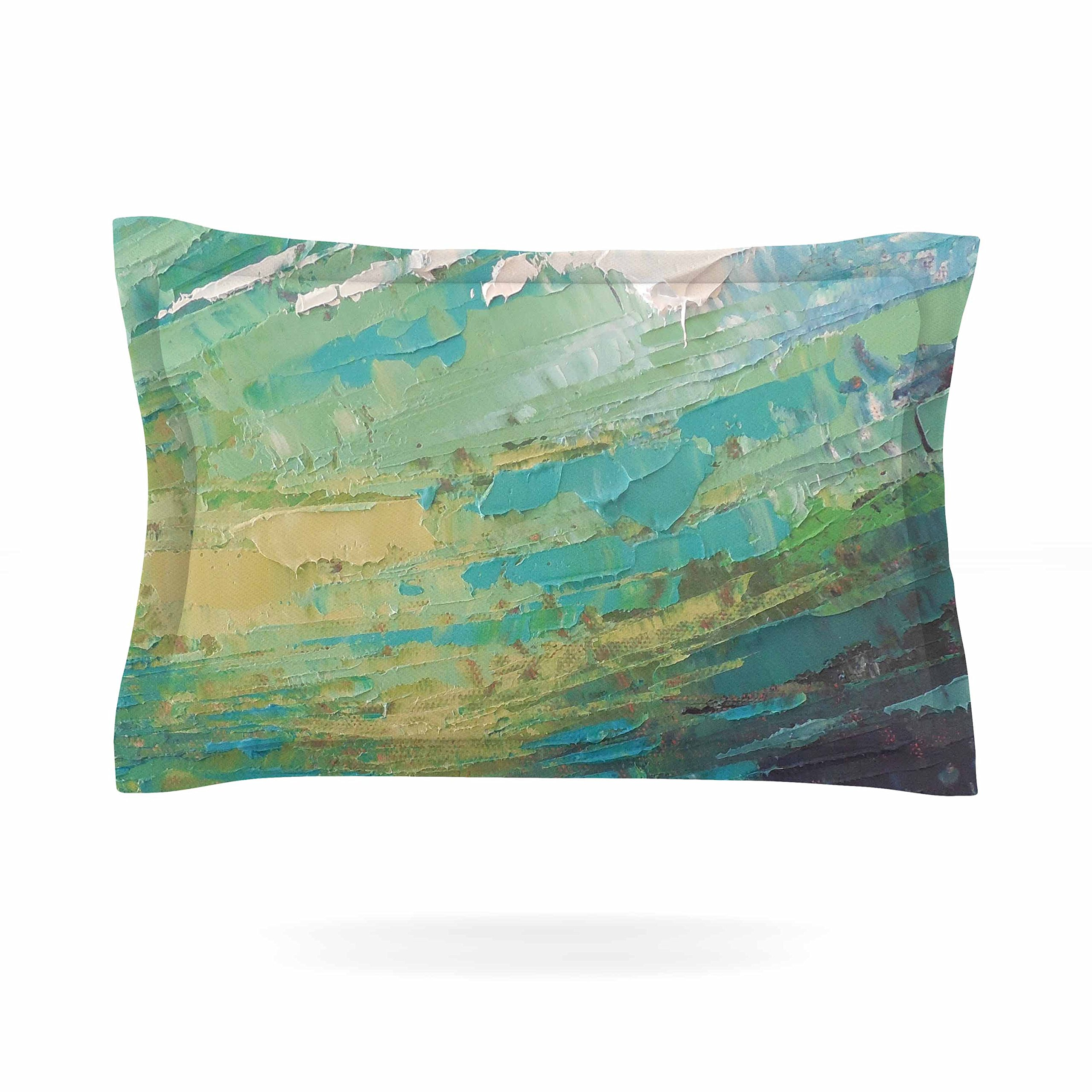 KESS InHouse Carol Schiff ''Sea Dance'' Teal Green Painting Pillow Sham, 40'' x 20''