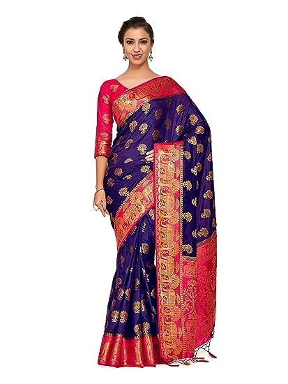 b20e2bab525c46 Mimosa Art silk Wedding saree Kanjivarm Pattu style With Contrast Blouse  Color  Blue (4317-363-2D-NVY-STRW)  Amazon.in  Clothing   Accessories