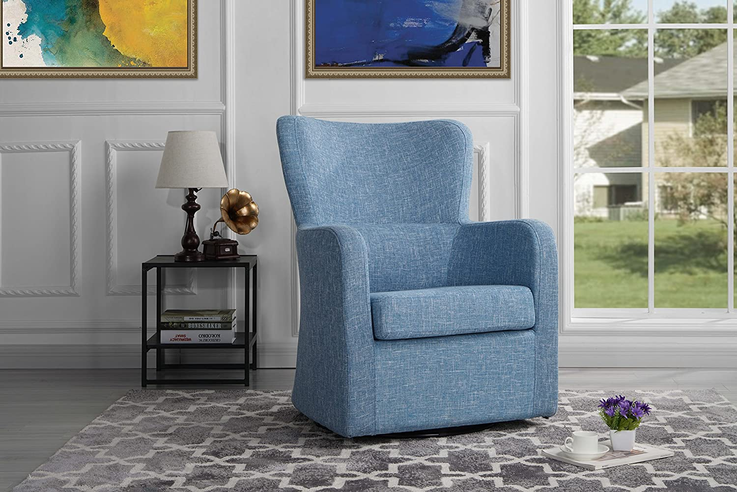 Modern Swivel Armchair, Rotating Accent Chair for Living Room (Light Blue)