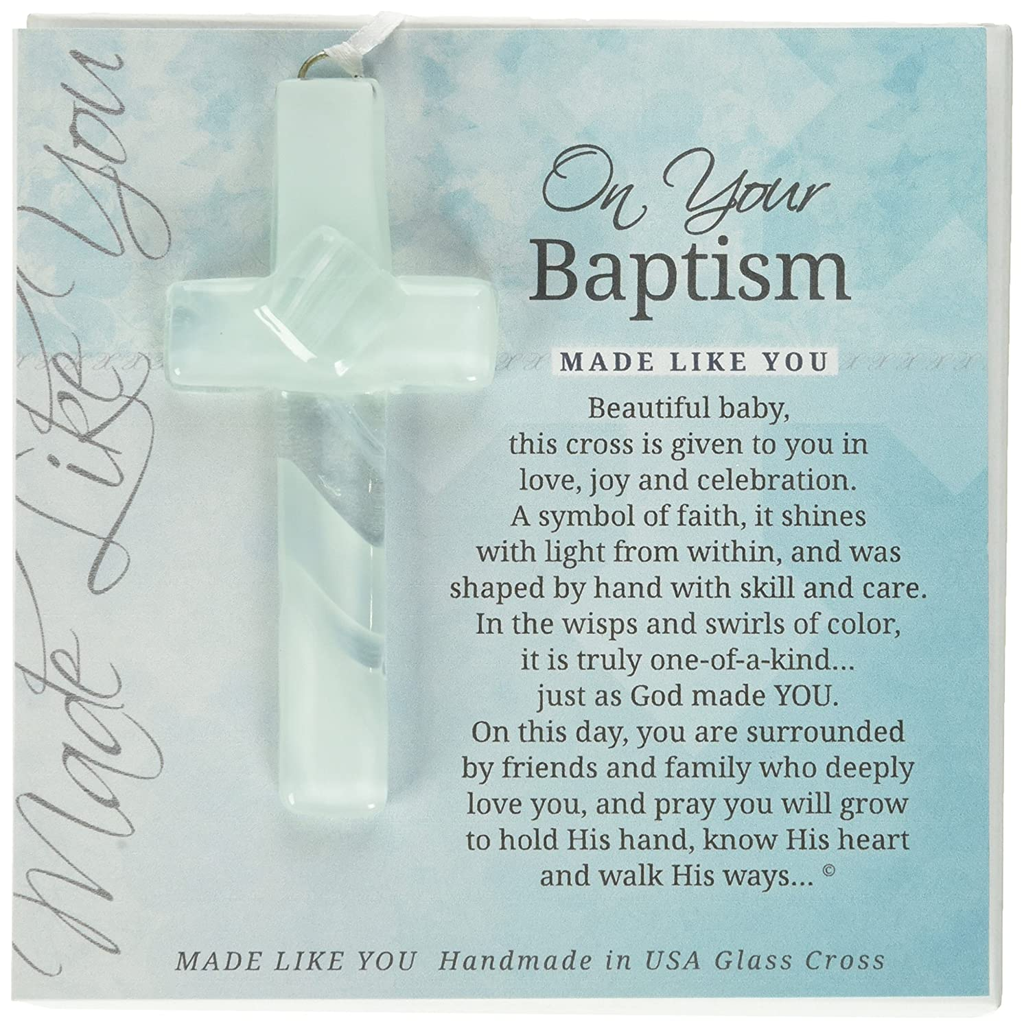 On Your Baptism Beautiful Baby Handmade Aqua Glass Cross The Grandparent Gift Co. 4402