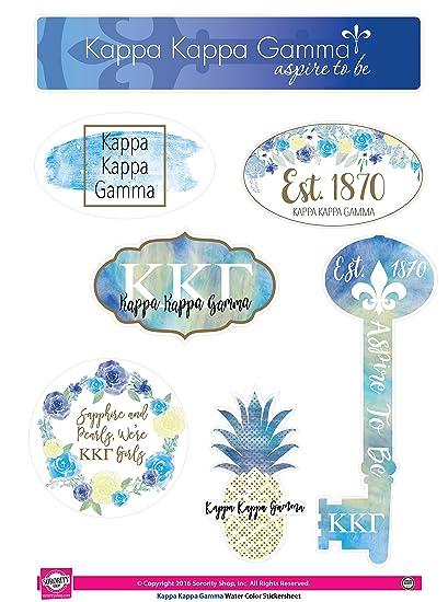 Kappa Kappa Gamma Sticker Sheet Watercolor Theme