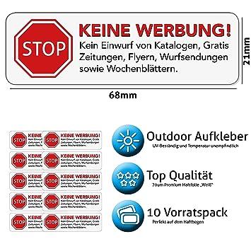 Keine Werbung Aufkleber in weiss - Schild – Folie - Sticker (STOP ...