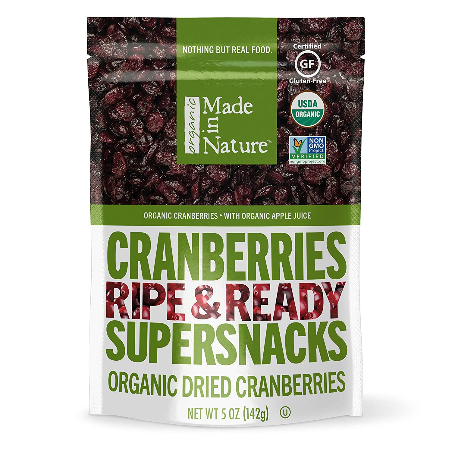 Made in Nature Organic Dried Fruit, Cranberries, 5oz Bags (6 Count) – Vegan, Non-GMO, Unsulfured