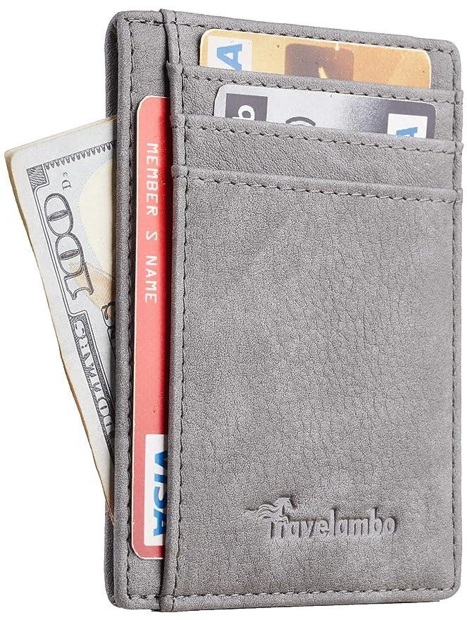 Travelambo Front Pocket Minimalist Leather Slim Wallet RFID Blocking Medium Size (Oldo Grey) at Amazon Men's Clothing store: