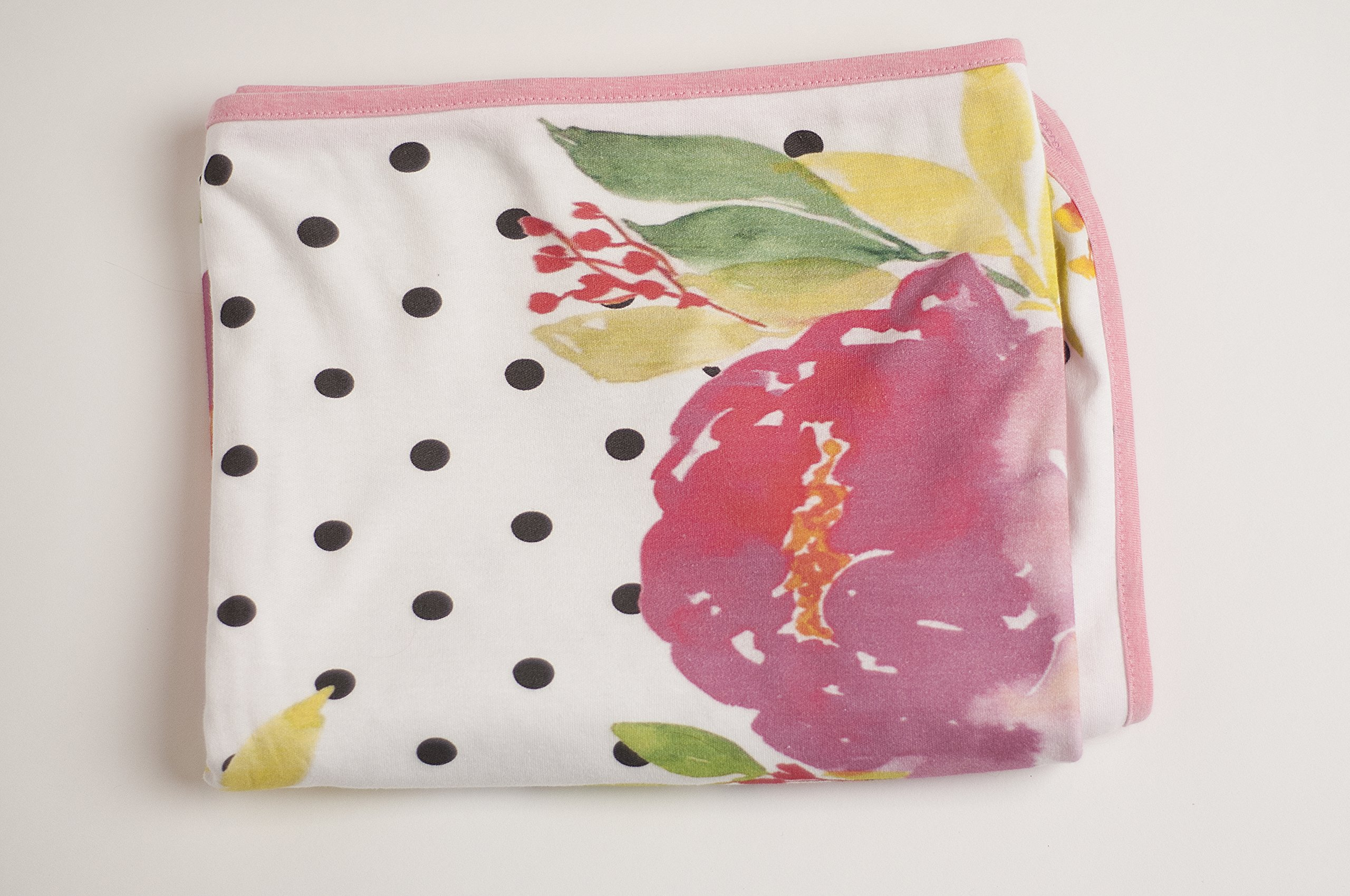 Premium Cotton Large Baby Swaddle Receiving Blanket Stretchy (White, Pinks, Floral)