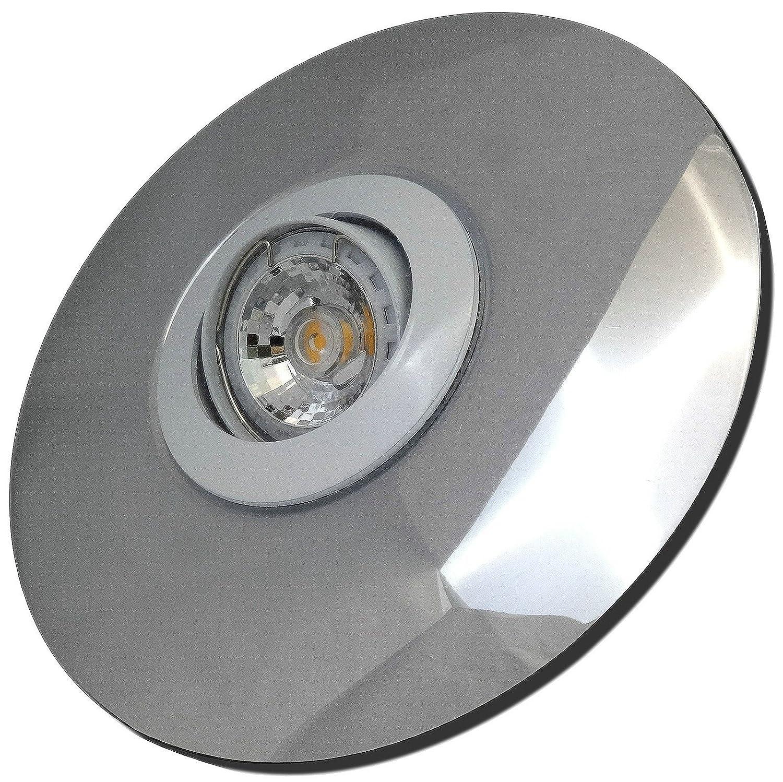 5 Stück MCOB LED Einbaustrahler Big Fabian 230 Volt 5 Watt Schwenkbar Weiß + Chrom Neutralweiß