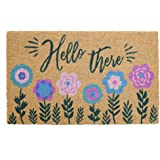 Avera Products   Hello There, Natural Coir Fiber Doormat, Anti-Slip PVC Mat Back
