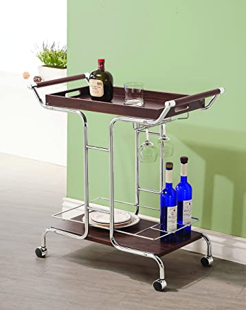 Coaster Home Furnishings Serving Cart with Stemware Rack and Casters Walnut and Chrome