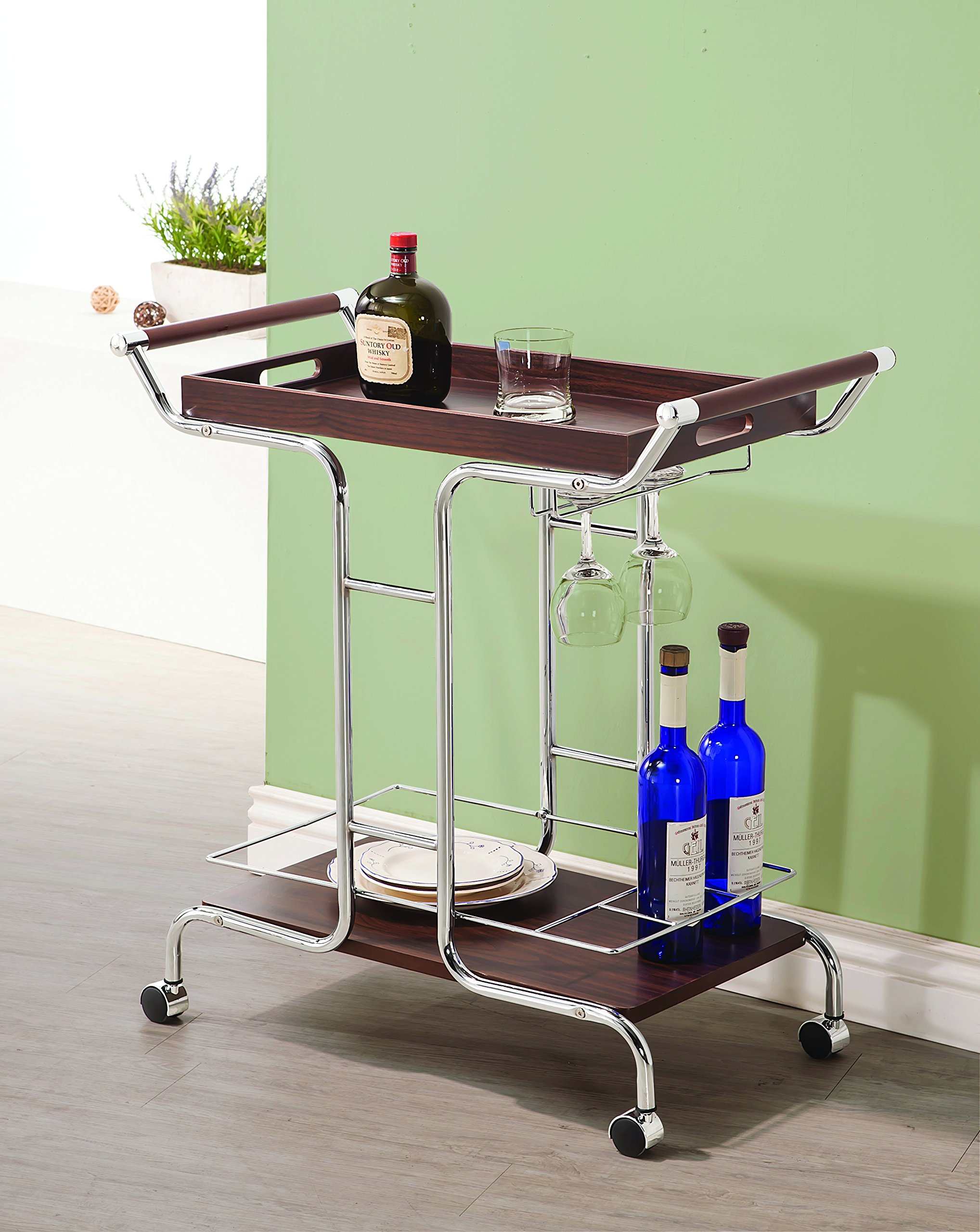 Coaster Contemporary Walnut and Chrome Serving Cart with Stemware Rack and Casters