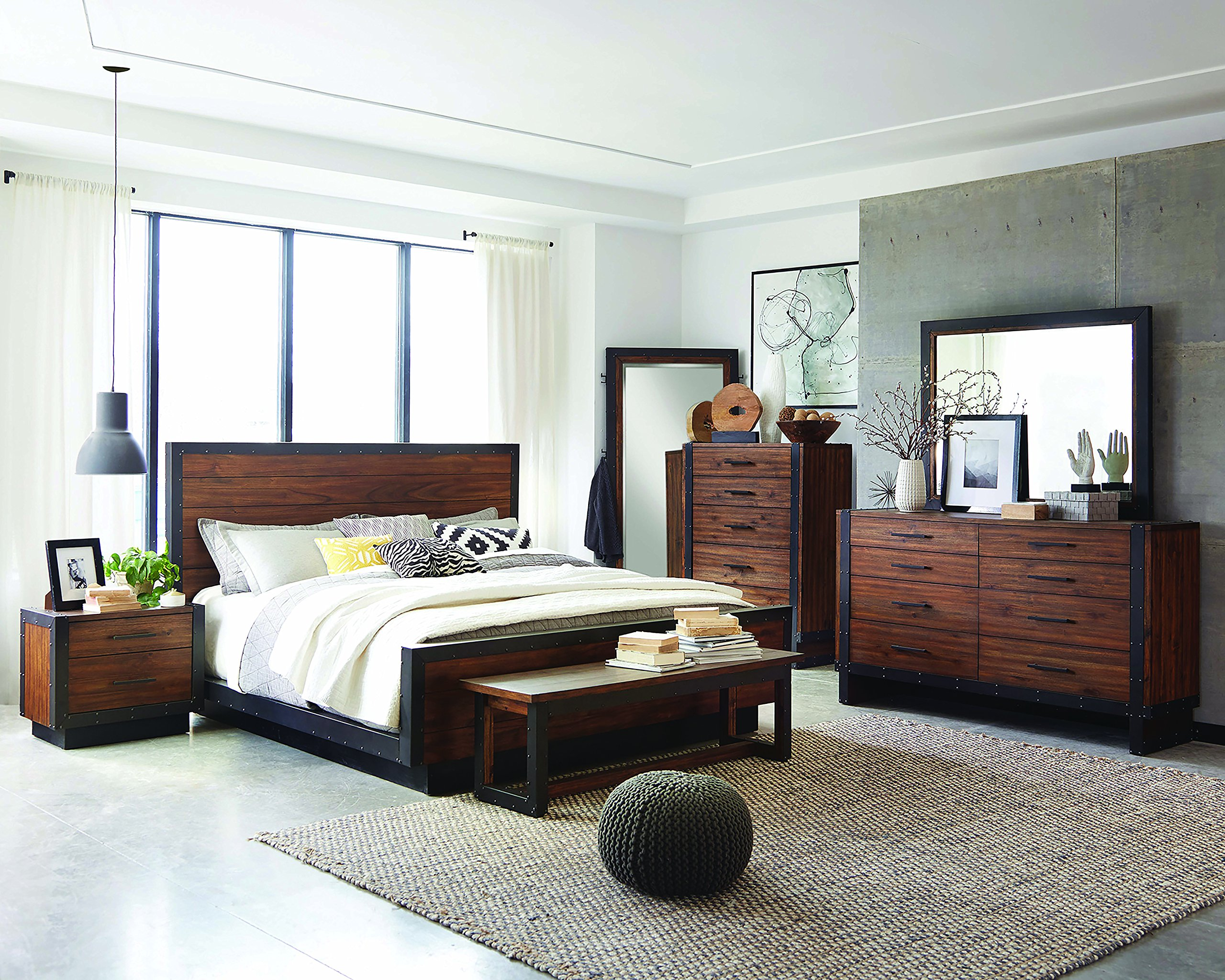 Scott Living Ellison Bourbon Brown Finish Queen Bed with 13 Slatted Panel Design - Some assembly may be required Absolute harmony of rustic, modern, and industrial Styles A true modern platform bed with extended platform on side rails - bedroom-furniture, bedroom, bed-frames - 91ZoFqFR4dL -