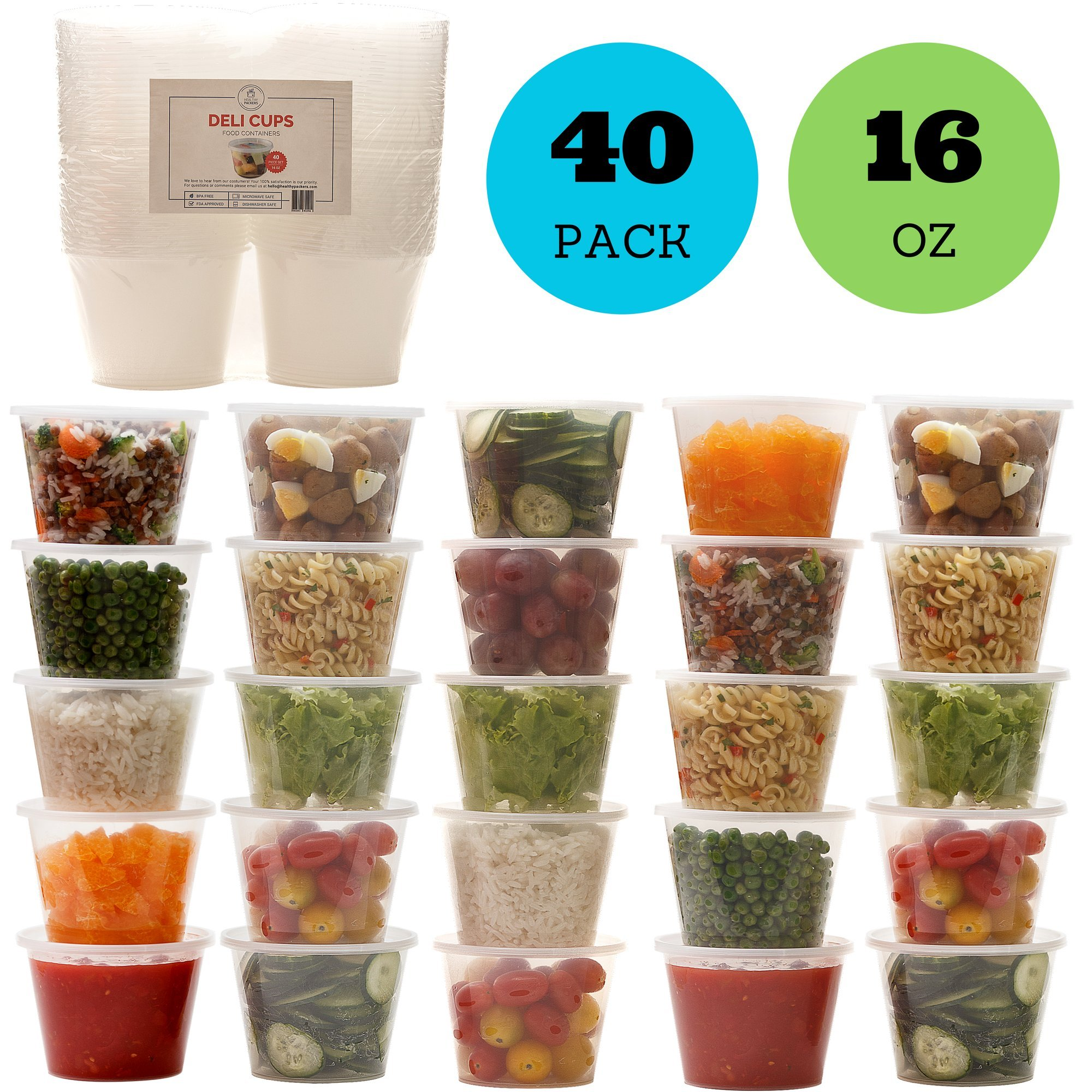 Deli Food Storage Containers with Lids - 16 oz. Leakproof Clear Plastic Deli Cups - BPA Free, Microwaveable, Freezer and Dishwasher Safe. (40 Pack)