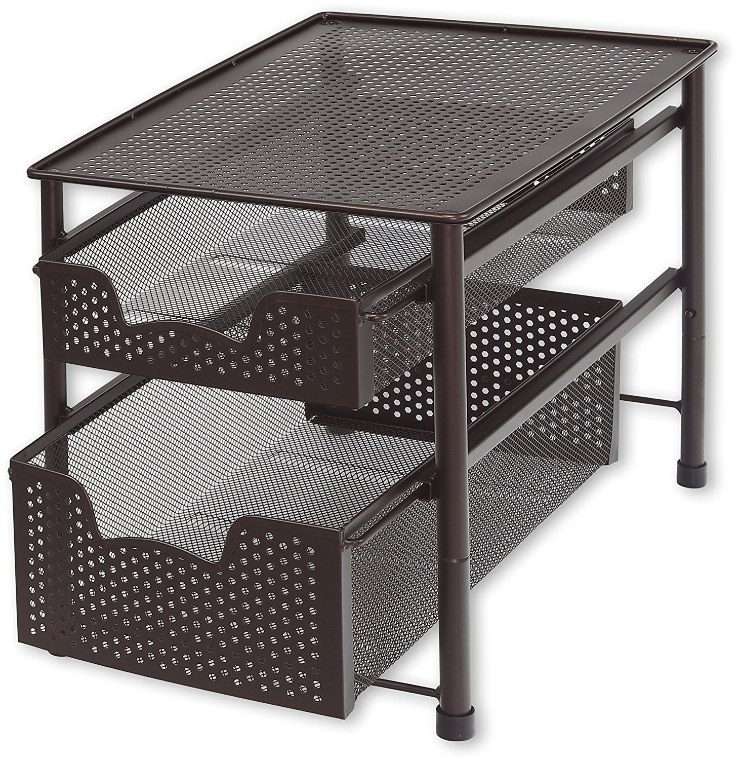 Simple Houseware Stackable 2 Tier Sliding Basket Organizer Drawer, Bronze CB-002-2