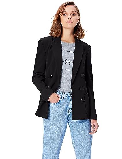 ba62422ea155 FIND Veste Blazer Boutonnage Croisé Femme, Noir (Black), 38 (Taille  Fabricant