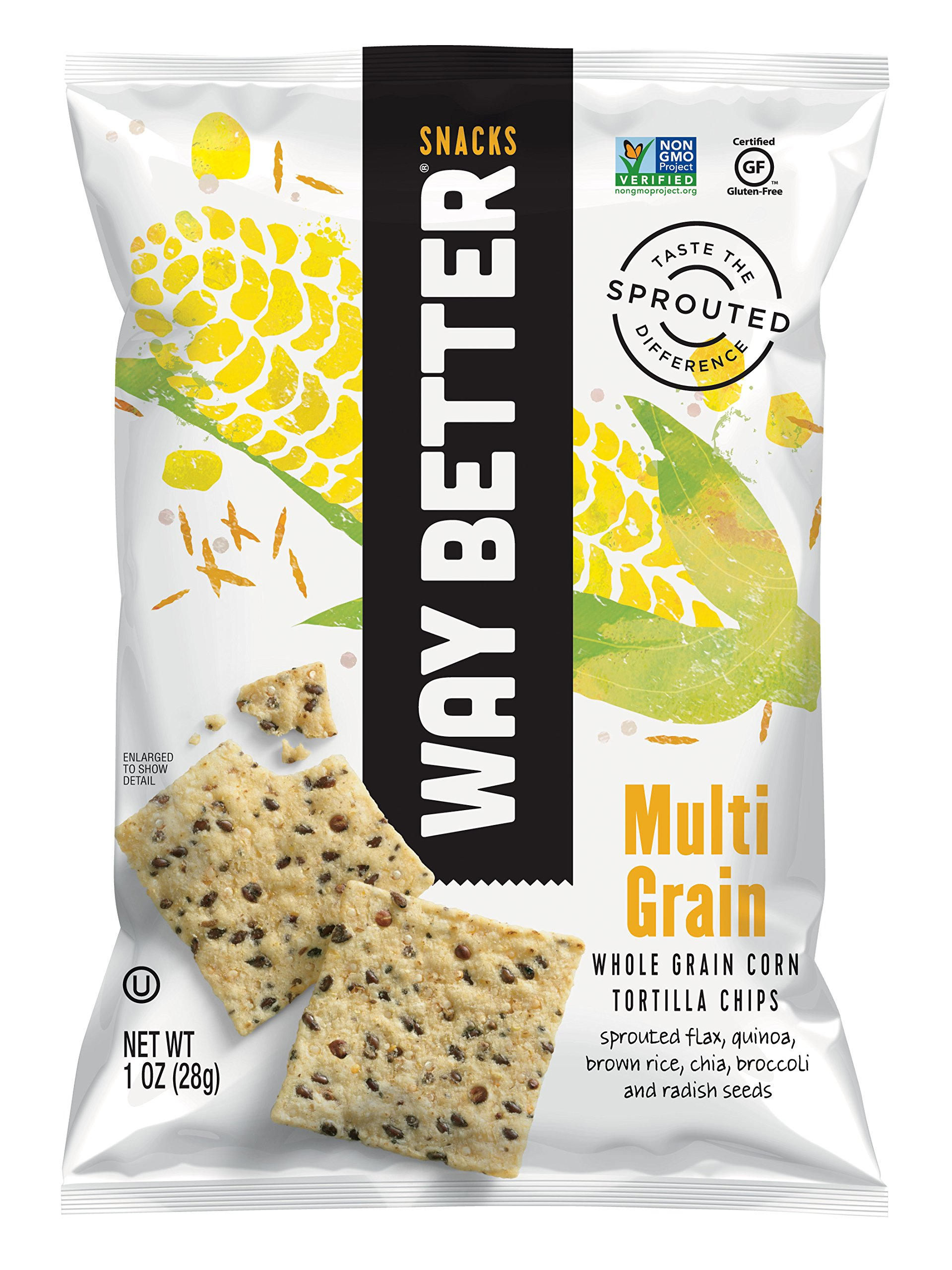 Way Better Snacks Sprouted Gluten Free Tortilla Chips, Sunny Multi Grain, 1 Ounce (Pack of 12) by Way Better Snacks