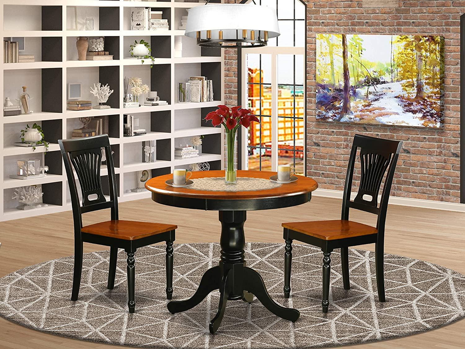 East West Furniture Kitchen Dining Table Set- 2 Amazing Dining Room Chairs - A Gorgeous Dining Room Table- Wooden Seat-Cherry and Black Wood Kitchen Table