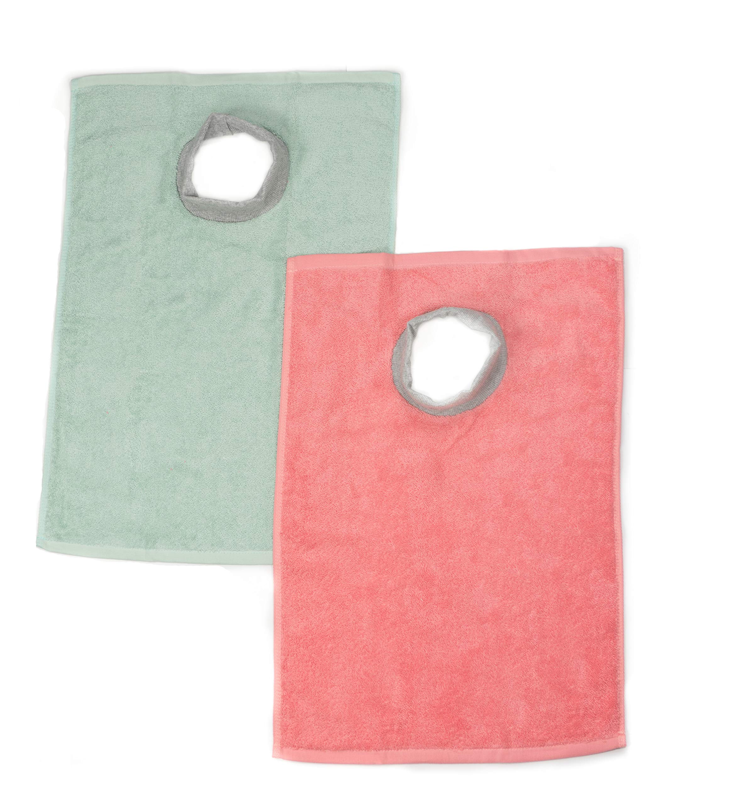 Full Coverage! Ultra Absorbent Baby/Toddler Best Terry Towel Bib - Super Soft 99% Cotton with Comfortable Ribbed Neck, 2-Pack Mint Green and Peach Coral (Pinkish), 6 Months - 4 Years