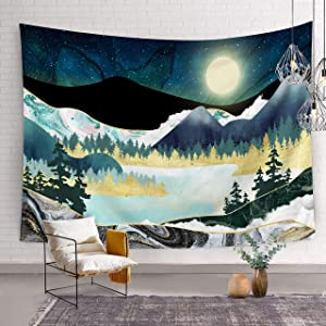 Bonsai Tree Mountain Tapestry, Nature Landscape Forest Trees Large Wall Tapestries for Men, Starry Sky Moon Stars Black Green Marble Wall Hanging Art for Living Room Dorm Home Decor, 59x83 Inches