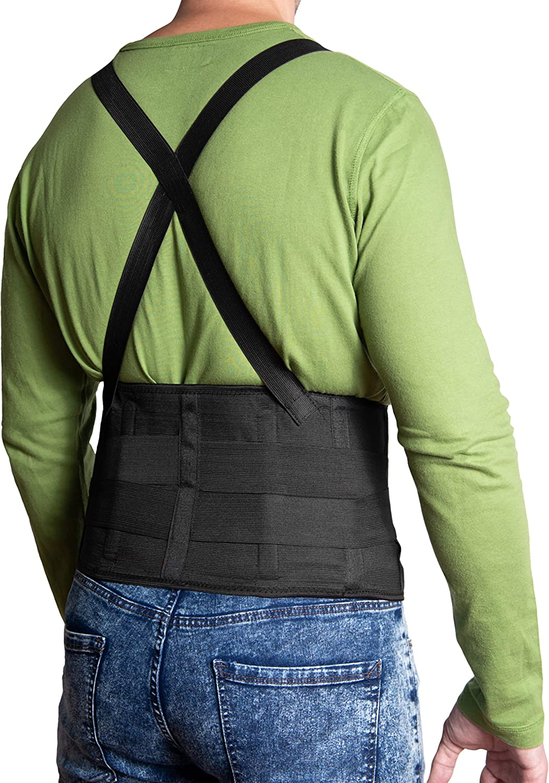 JeVx Faja Lumbar para la Espalda REFORZADA DOBLE CIERRE Y TIRANTES - Talla XXL para Hombre Cinturon Elastico Reforzado para Trabajo y Deporte Corrector de Postura Ajustable Abdominal Dolor Compresora
