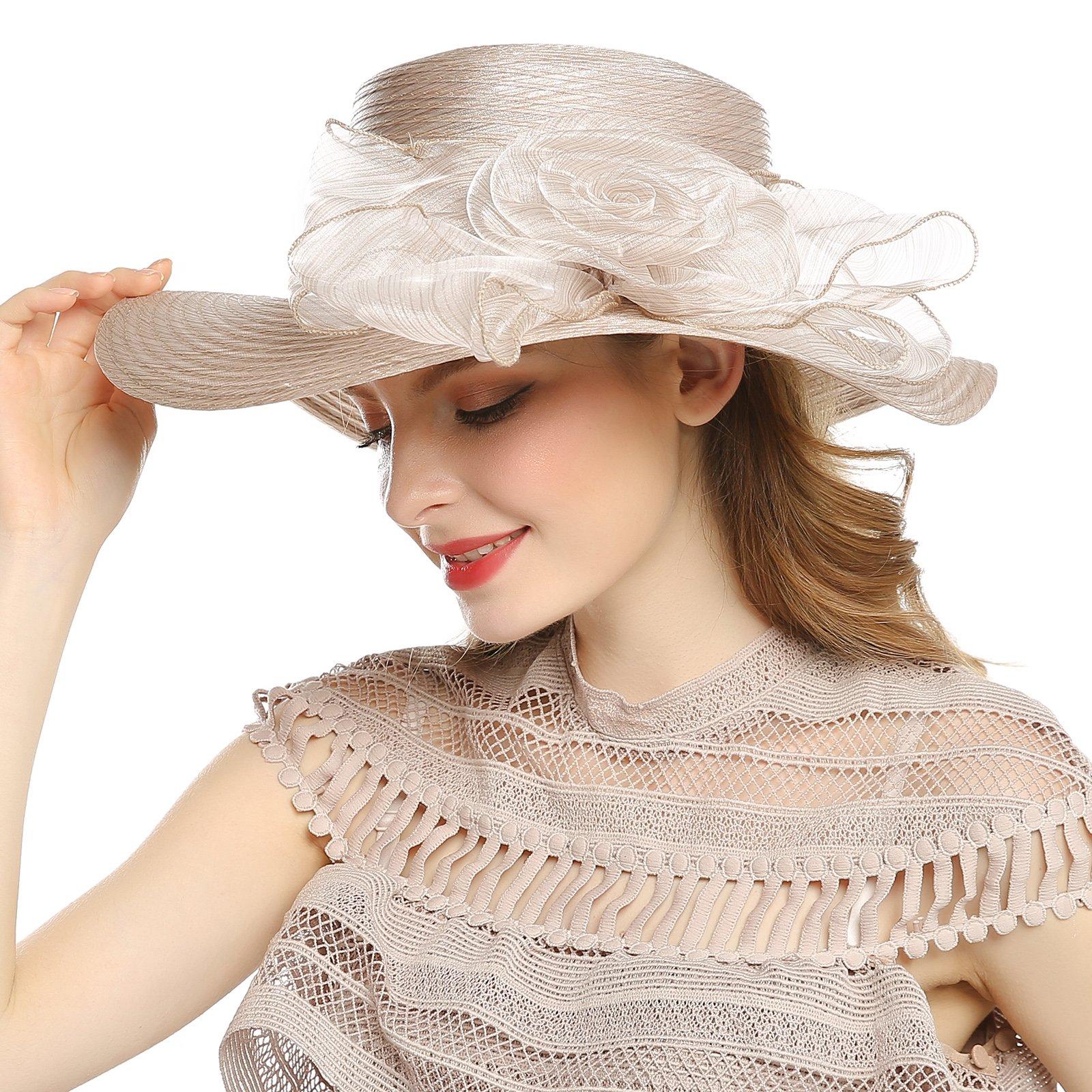 WELROG Women's Derby Church Dress Hat - Wide Brim Floppy Floral Ribbon UPF Protection Wedding Sun Hats(Khaki)