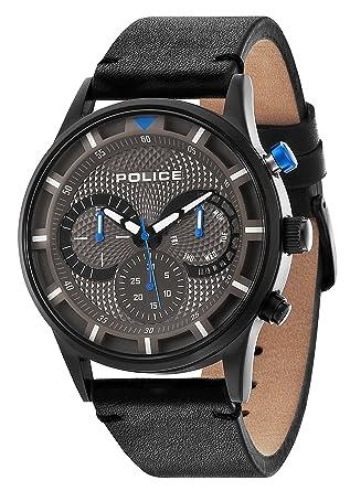 police men s quartz watch grey dial chronograph display and police men s quartz watch grey dial chronograph display and black leather strap 14383jsb 61