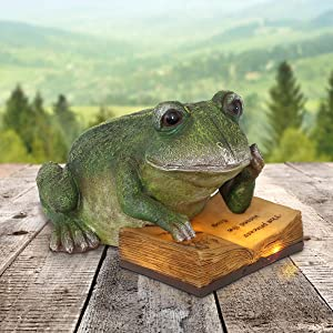 "Exhart Solar Bookworm Frog Statue - Hand-Painted Resin Statue of a Green Frog Reading a Book w/Solar-Powered Lights - Best as Outdoor Decorations for Garden, Patio or Yard, 9"" L x 11.5"" W x 7"" H"