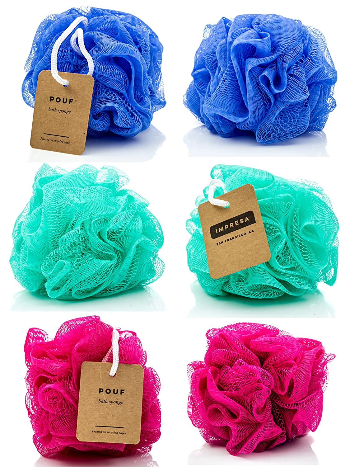 Eco-friendly Mesh Bath and Shower Sponge, (6-pack) Loofah-loofa-loufa-luffa-pouf Impresa BHBUSAZIN025207