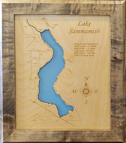 King County Topographic Map.Amazon Com Lake Sammamish Washington Framed Wood Map Wall Hanging